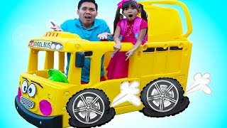 Wheels on the Bus | Emma Pretend Play Ride on Kids Bus Toy to Nursery Rhymes Song