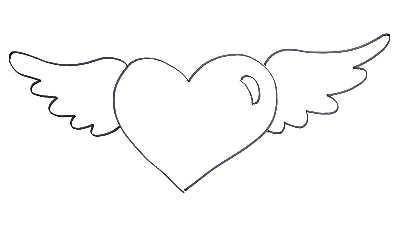 для картинки как нарисовать сердце с крыльями красивые уайнхаус