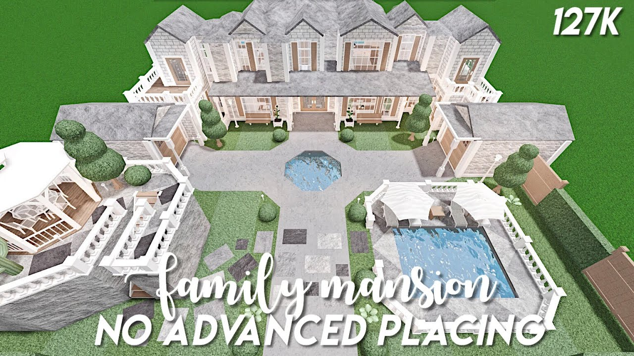 Roblox Bloxburg Mansions 130k No Advanced Placing Family Mansion Bloxburg Speedbuild Youtube