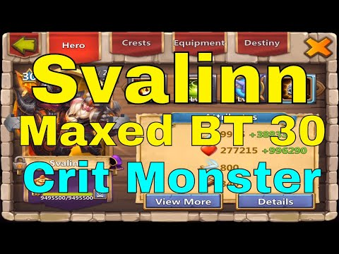 Castle Clash Svalinn Gameplay New Hero Breakthrough 30 BT 30 Maxed