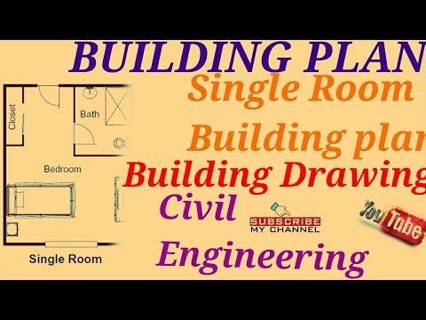 Building Plan-Single Room Building Plan/ BUILDING DRAWING/ENGINEERING  DRAWING