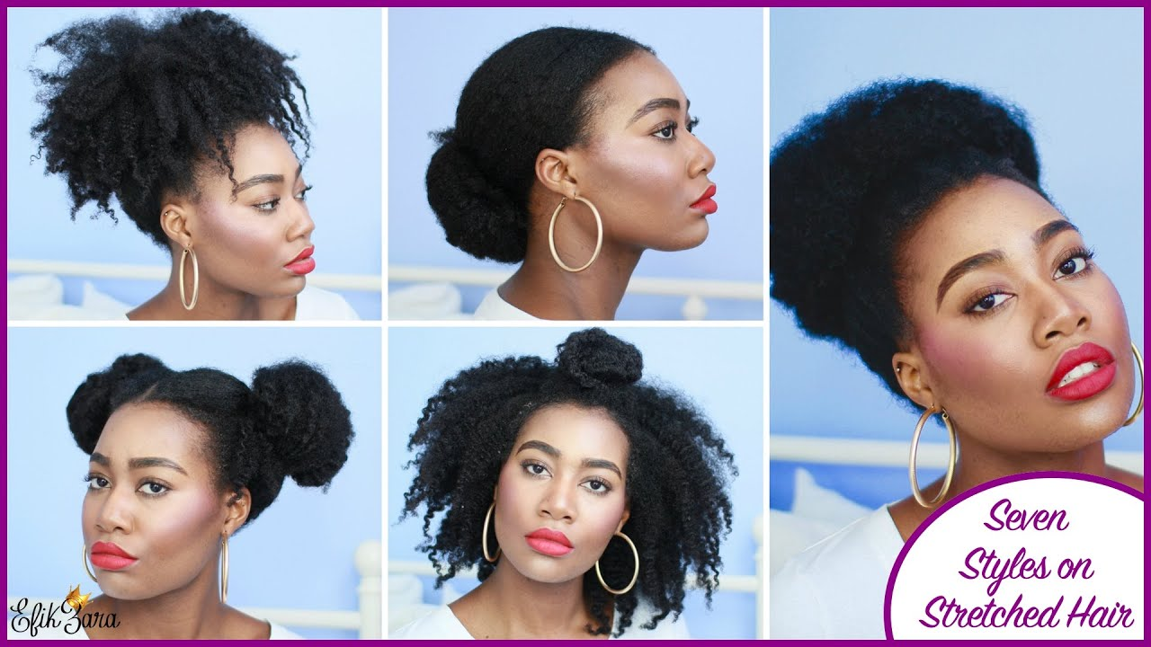 seven super easy styles on stretched hair! (type 4a/4b/4c hair