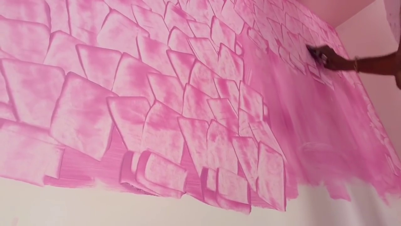 Asian paints & interior wall digains bedroom pink colour
