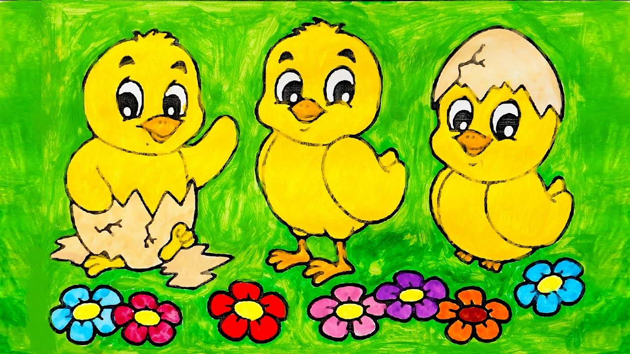 Coloring And Painting 3 Cute Baby Chickens Picture Animals Coloring ...