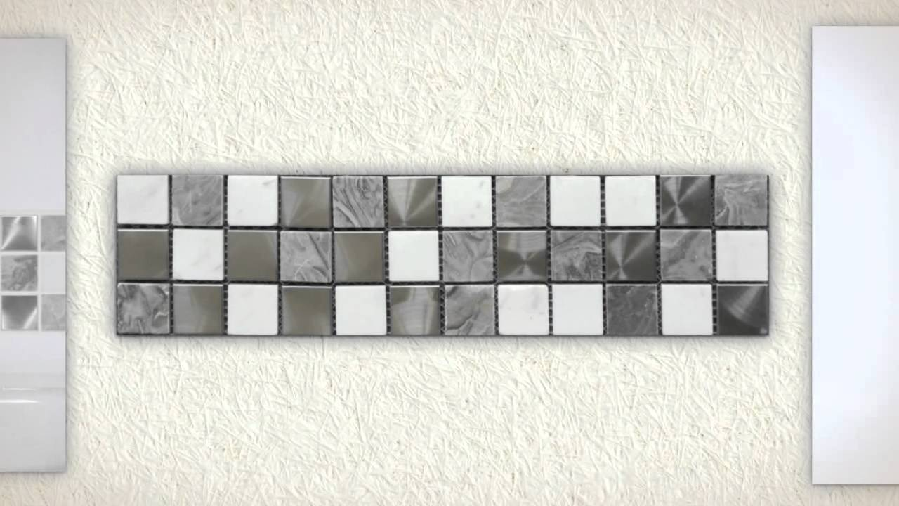 Bathroom Wall Tiles Gloss White   Grey White Marble Polished Steel Mosaic Bathroom  Tiles   YouTube Part 40