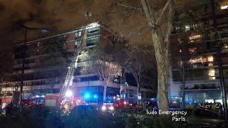 Pompiers de Paris incendie d'habitation Paris 19 Paris Fire Dept on scene, building Fire