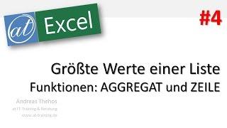 Excel # 678 - Größte Werte einer Liste - Funktion AGGREGAT - Teil 4