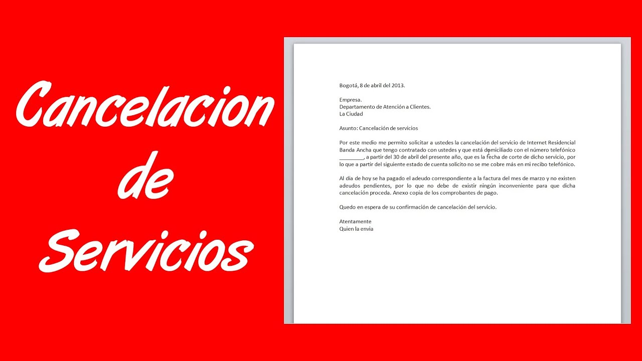 cartas de cancelacion de seguros Como hacer una carta de cancelación de servicios - YouTube