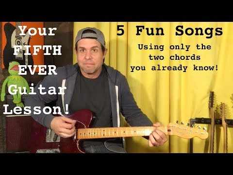 Your Very 5th Guitar Lesson - 5 Fun Songs Using Only The E and A Chords!