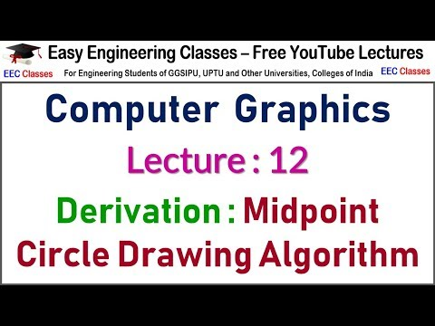 CGMM Lecture 12: Derivation of Midpoint Circle Drawing Algorithm - Hindi/English