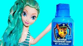 Princess Makeover Elsa BLUE HAIR Disney Frozen Anna Rainbow Hair Doll Bathtime Paint
