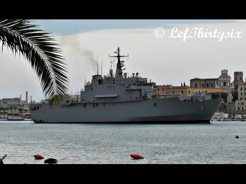 [HD] San Giusto (Italian Navy) arrives at Brindisi Port [Full Video]
