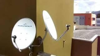 posição das antenas nos satélites hispasat, starone c2 e amazonas.