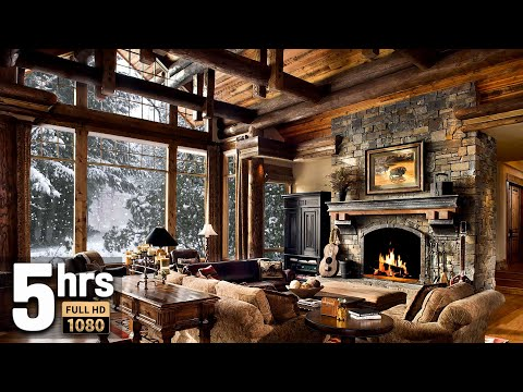 Winter Christmas Screensaver HD 5 hours - Snow falling, Fire crackling sound, Cosy Log Cabin
