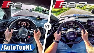 802HP Audi R8 V10 PLUS vs 750HP Audi RS7 | 0-325km/h | AUTOBAHN POV & ACCELERATION by AutoTopNL
