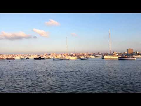 Sunset view of marina at Alexandria Yacht Club