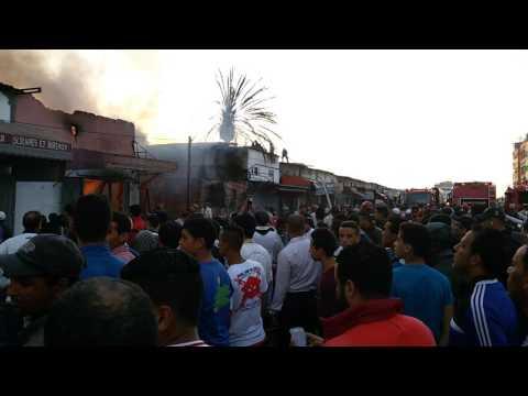 """فيديو الحريق المهول الذي شب امس الاحد بسوق """"القريعة"""""""