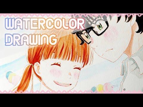Fanart#14: Hina x Rei | 3-Gatsu no Lion | Watercolor Speed Drawing