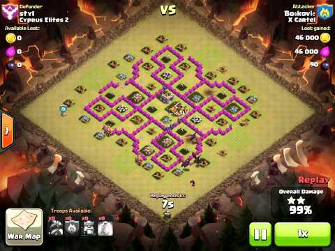 Clash of Clans Dragon attack with hogs