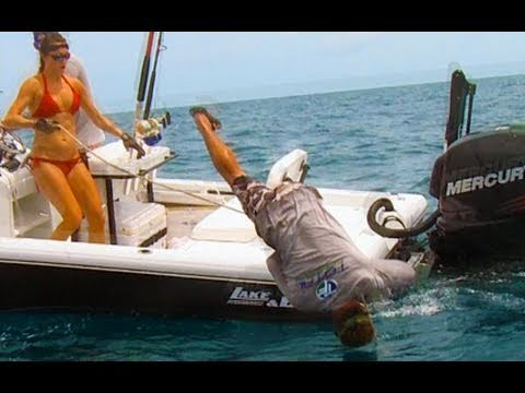 Funny Fishing - Hunter Gets Pulled Overboard By Giant Fish! - Goliath Grouper Pulls Man Overboard
