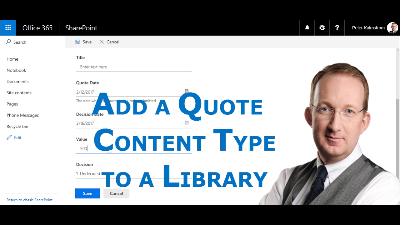 Add a sharepoint quote content type to a document library for Document library content type