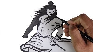 How to draw lord Shiva Parameshwara in a warrior look.