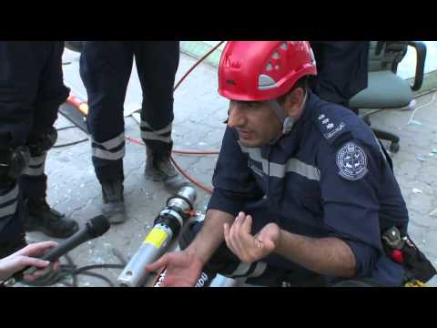 The training of Dubai Police, Search and Rescue unit, at the Metropolitan Demolition site