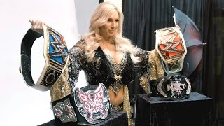 Charlotte poses with her championship collection