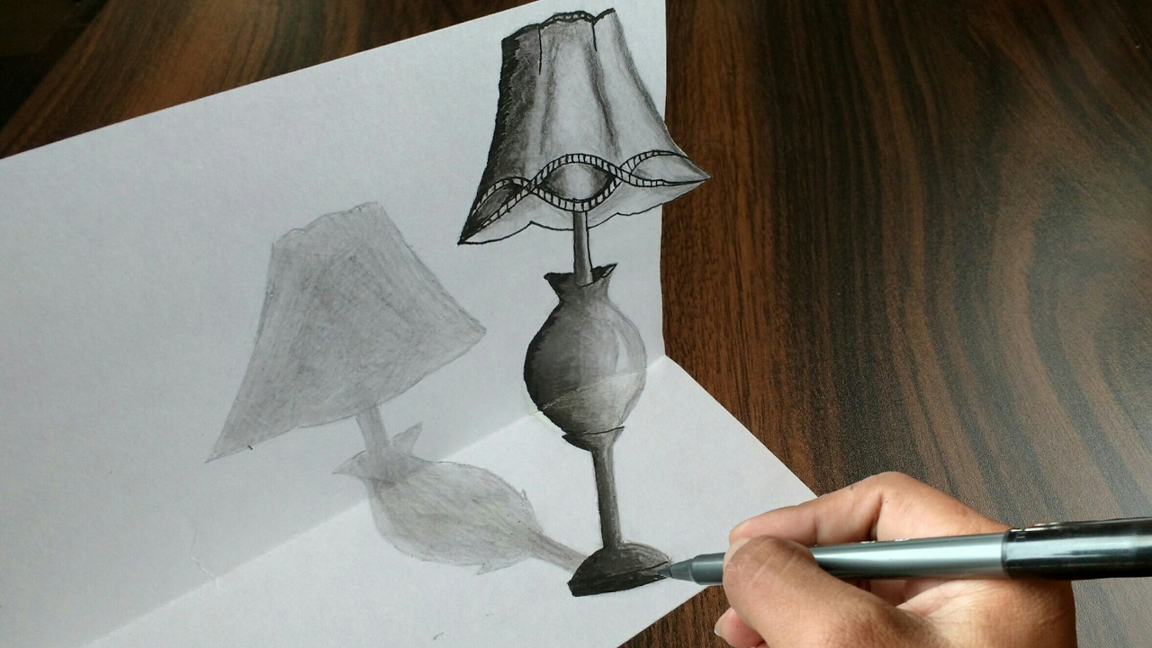 Trick Art Drawing 3D Tiny Table Lamp On Paper - YouTube