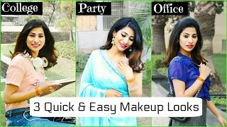 Using 5 Makeup Products | 3 Quick & Easy Looks for College, Party & Office | Anaysa
