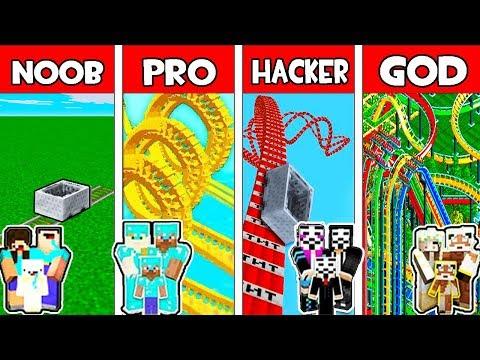 Minecraft - NOOB vs PRO vs HACKER vs GOD : BIGGEST FAMILY ROLLER COASTER in Minecraft Animation