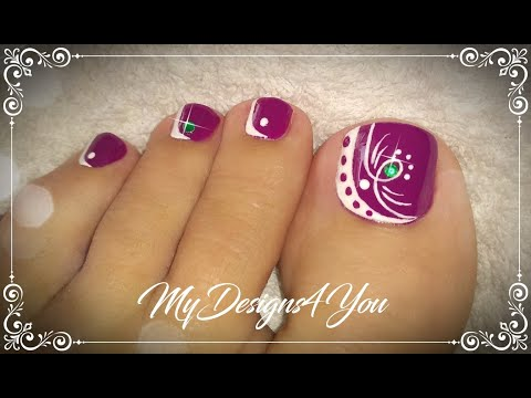 Beautiful Purple Toenail Art Design  ♥ Pedicure