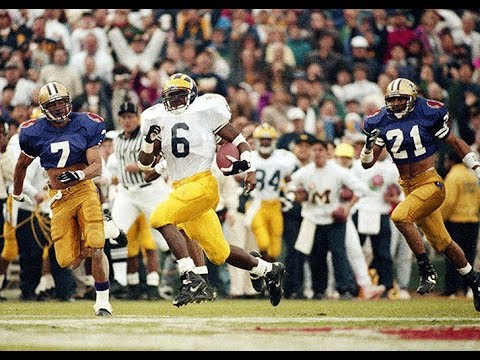 1993 Rose Bowl #9 Washington vs #7 Michigan No Huddle - YouTube