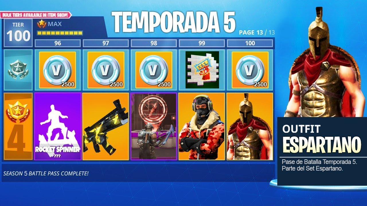 Pase de batalla temporada 5 al maximo nivel 100 en for Fortnite temporada 5 sala