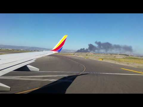 SOUTHWEST airlines 737 TAKEOFF!!! Fire outside OAK Airport