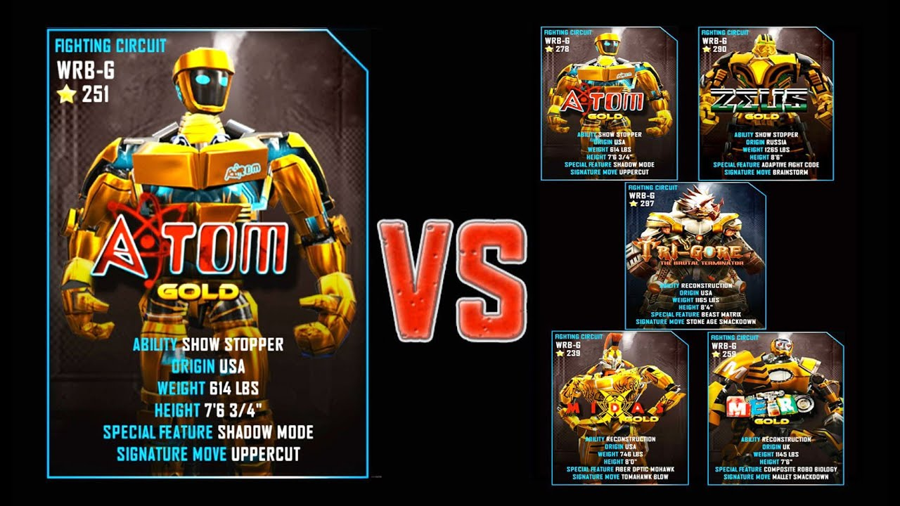 Real Steel Wrb Final Atom Gold Series Of Fights New Robot Game Show Circuit