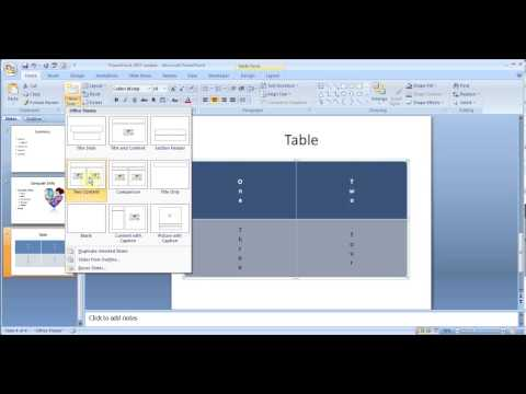 Microsoft PowerPoint 2007 pt1 (Add slides, table, picture, smart art, chart, transition & more)