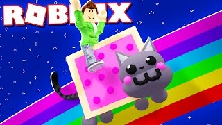 RIDE A NYAN CAT Down a RAINBOW in Roblox!