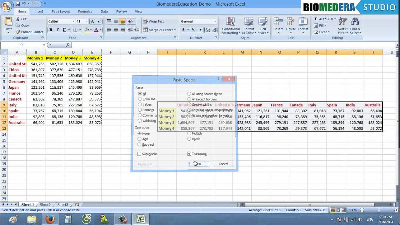 [Kỹ năng mềm NCKH] Hoán chuyển cột dòng của bảng trong Excel 2007 & 2010