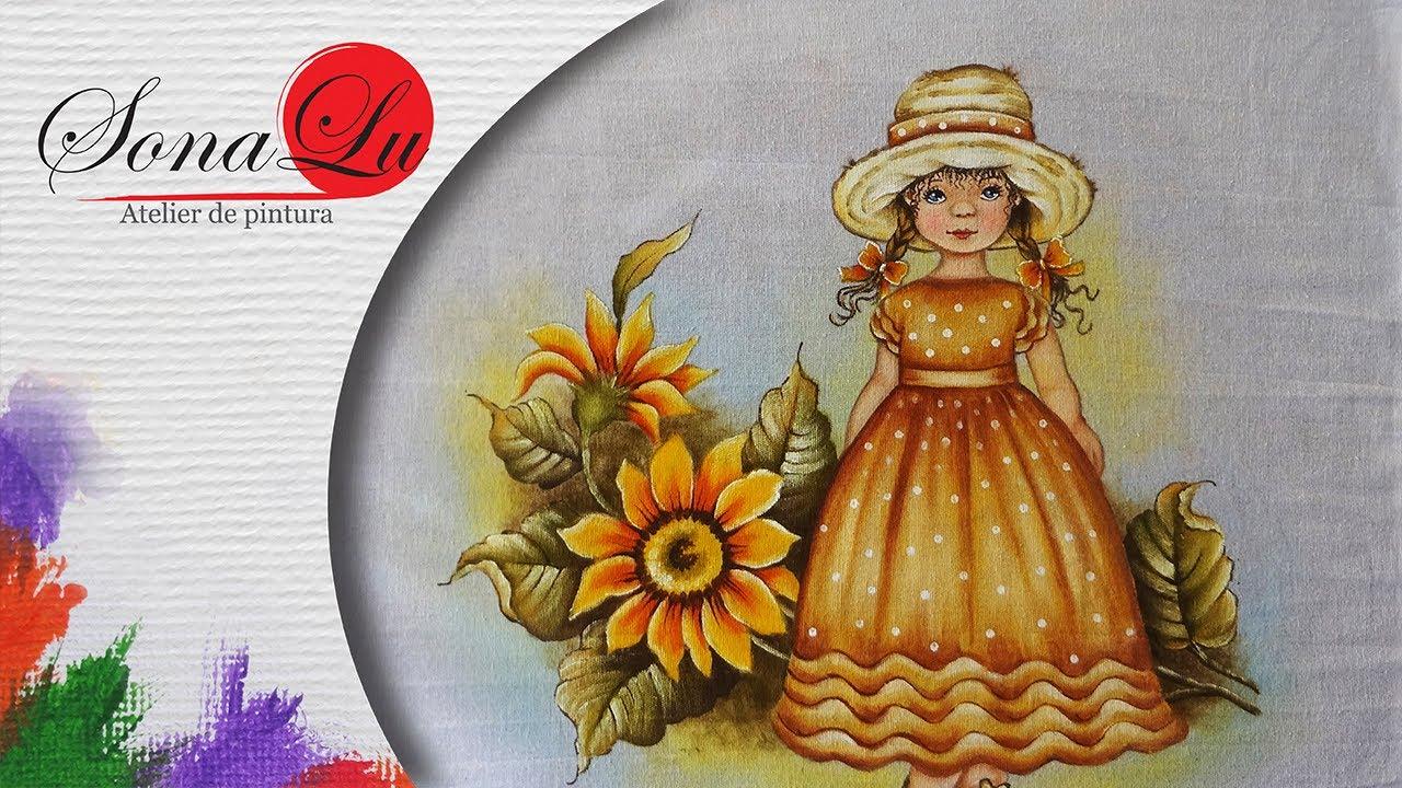 Aparador De Acrilico Transparente ~ Menina com Girassol em tecido (Aula 130 Parte 1) YouTube