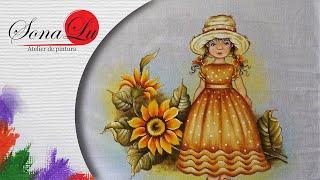 Menina com Girassol em tecido (Parte 1) Sonalupinturas