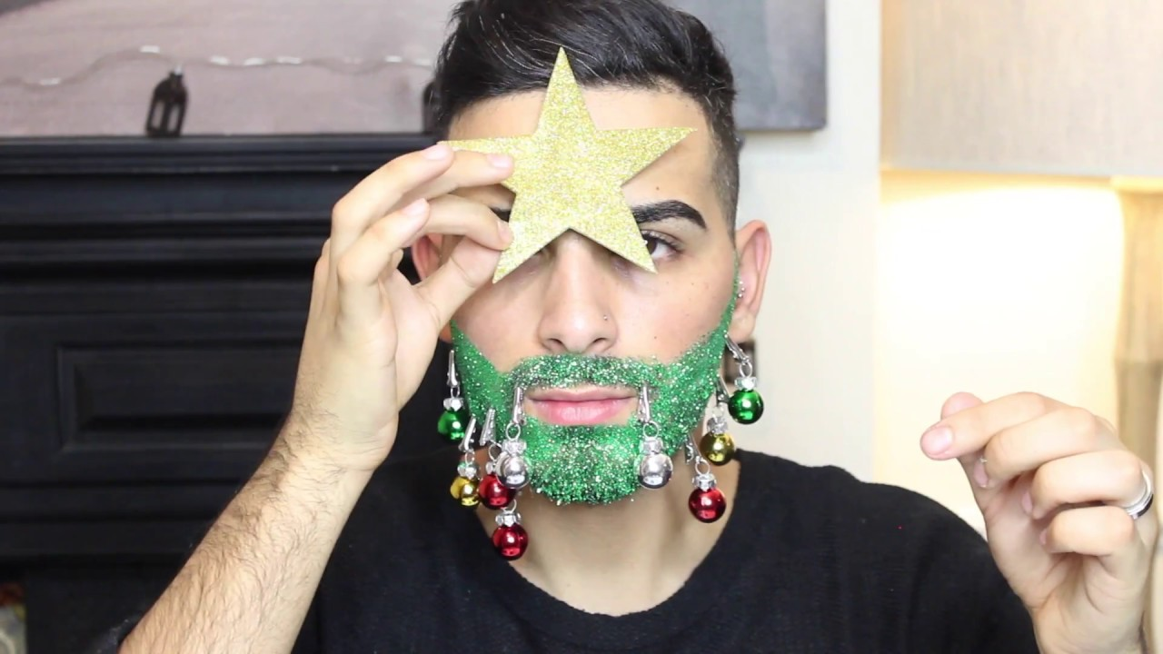 human christmas tree glitter beard - Christmas Beard