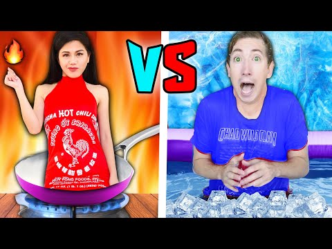 Hot vs Cold Challenge / Girl on Fire vs Icy Boy Last to Leave in 24 Hours! Cloaker joins Spy Ninjas?
