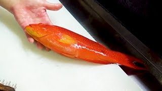 SHARP TEETH! Red Grouper Sashimi - Japanese Street Food in Okinawa