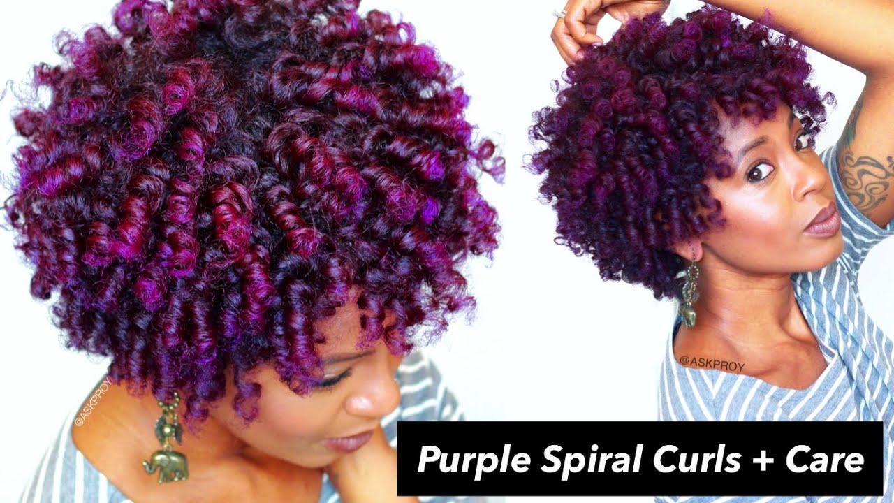 purple spiral curls natural hair