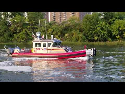 FDNY Marine Battalion, FDNY Marine 6 And FDNY Marine 4 Going Home After Battling A Waterfront Fire