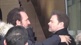 Quand Clovis CORNILLAC croise Jean DUJARDIN @ Paris le 8 février 2018 devant RTL rue Bayard