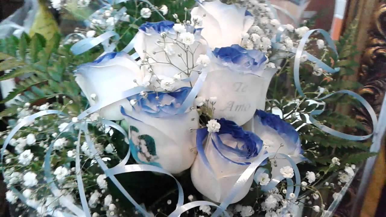Ramo De Rosas Azules Con Mensaje Youtube