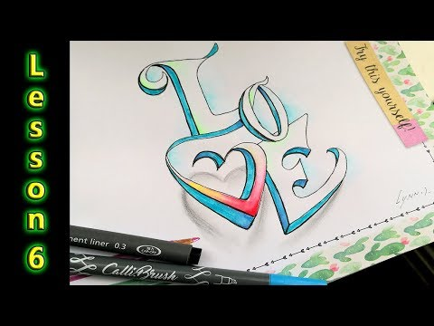 Handlettering Valentine word Love Letters in 3D!! | bullet journal accents