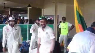 Percy entertains Kohli & Indian team, Kisses Ajinkya Rahane
